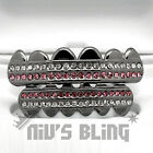 Gunmetal Bling Out Iced GRILLZ Pink Stripe CZ Icy Mouth Teeth Caps HipHop Grills
