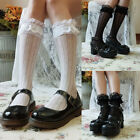 Women Lace Stocking Trim Thigh High Over The Knee Socks Long Cotton Warm Hosiery