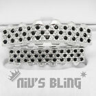 Silver Bling Out Iced GRILLZ Checkered CZ Tooth Mouth Teeth Cap Joker Grills