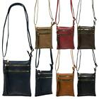 New Ladies Faux Leather Front Double Zipper Festival Casual Crossbody Bag