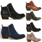 Women Low Block Heels Ankle Boots Zip Side Booties Casual Leather Suede Shoes