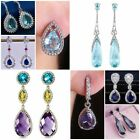 Gorgeous 925 Silver Drop Earrings Women Cubic Zircon Jewelry A Pair/set image