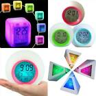 LED Digital Alarm Clock 7 Color Changing Glowing Night Light Table Bedroom Gift