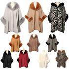 New Ladies Faux Fur Trim Collar Soft Comfortable Winter Coat Poncho Cape