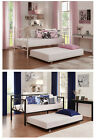 Universal Daybed Trundle Metal Frame Twin Size Guest Bed Rolling Away Pull Out