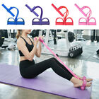 US Foot Pedal Pull Rope Resistance Exercise 4-Tube Yoga Sit-up Fitness Exerciser image