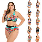 Plus Size Women Two Piece Swimsuit Push Up Bikini Set Swimwear Bathing Monokini