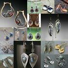925 Silver Ruby Aquamarine Turquoise Sapphire Earrings Ear Hook Drop Dangle Gift