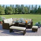 Rattan Garden Furniture Set Bench Corner Sofa Table Patio Black Grey Brown