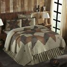 VHC Rustic Twin Patchwork Quilt Bedspread Blanket Cotton Tan image