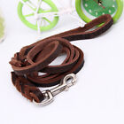 Use Leather Walking Training Lead Leash Belt Rope For Medium & Large Pet Dog V1