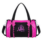 Kids Girls Ballet Dance Bowknot Ruffled Lace Embroidered Duffle Shoulder Gym Bag