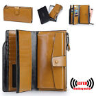 Women's RFID Blocking Wallet Genuine Leather Long Clutch Cash Phone Card Holder image