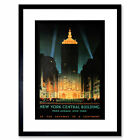 Travel New York Central Park Avenue Vintage Advert Framed Wall Art Print