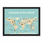 Animals+Of+The+World+Map+Framed+Wall+Art+Print+18X24+In