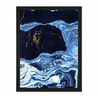 Abstract+Dark+Blue+Gold+Drips+Framed+Wall+Art+Print+18X24+In