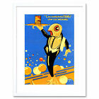 Advert Food Fish Waiter Tray Tin Can Bubbles Spain Framed Wall Art Print