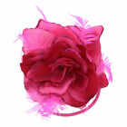 Glitter Hair Rose with Feathers on Clip & Elastic - Hair Piece or Corsage