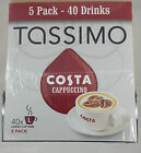 TASSIMO T Discs COSTA CAPPUCCINO Refill Coffee Pods Large Cup 8 to 40 Drinks New