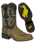 Mens Brown Work Saddle Style Western Cowboy Boots Square Toe All Real Leather