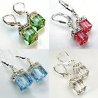 4colors Fashion 925 Silver Drop Earrings for Women Crystal Jewelry A Pair/set image