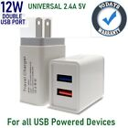 2.4A Double USB Wall Charger Cube for Samsung,iPhone,LG,Motorola,ZTE,HTC,BLU [F9