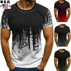 ❤️Men Slim Fit O Neck Short Sleeve Muscle Tee Shirts Casual T-shirt Tops Blouse image