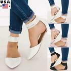Womens Summer Slip On Pointed Toe Sandals Flats Ladies Casual Buckle Shoes Size