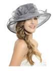 Women Fascinator Flowers Wide Brim Gauze Hat Headdress Kentucky Derby Church Dre