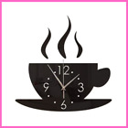 Mirror Wall Sticker Acrylic Coffee Cup Wall Clock for Room Decoration Home  Deco