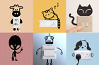 """Removable Light Switch Sticker Home Decor  """"cat, Puppy, Cow Super Cute!"""""""