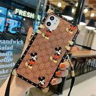 10Gucci15 MickeyMouse Square Case Cover Strap f iPhone 11 Pro Max Samsung Huawei