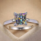 Classic 925 Silver Wedding Rings Women Jewelry White Sapphire Rings Size 6-10 image