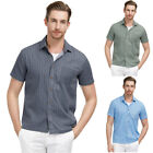 Men Lapel Retro Striped Short Sleeve Slim Fit Blouse Tops Office Business Shirts