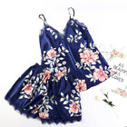 2PCS Lady Silk Satin Lace Robe Shorts Sleepwear Babydoll Nightdress Pajamas Set