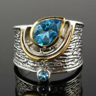 Fashion Two Tone 925 Silver Rings for Women Jewelry Aquamarine Ring Size 6-10 image