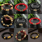 Feng Shui Black Bead Alloy Wealth Bracelet With Golden Pixiu Charms Jewelry Gift