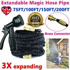 Garden Hose Pipe 75-200FT Water Spray Gun 3X Expandable Flexible Brass Fittings