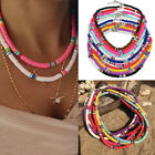 Boho 6mm Mixed Color Polymer Clay Choker Necklace Flat Beaded  Beach Necklace
