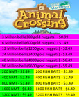 Animal Crossing:New Horizons Bells,Nook Miles Tickets,Fish Baits Fast Delivery!!