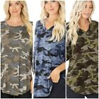 Women's Camouflage Print 3/4 Sleeve Round Hem Perfect Fit Quality Top
