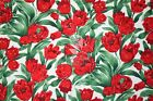 Beautiful Red Tulips printed Fabric 100% Cotton Fabric - Dess, quilting, craft