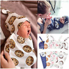 Newborn Baby Cartoon Swaddle Blanket Receiving Blanket Swaddle Wrap Hat Outfits