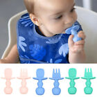 Spoon & Fork Baby Silicone Utensils Set 2pcs Self Feed Toddler Feeding Training
