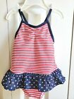 GYMBOREE GIRLPATRIOTIC AMERICA RED WHITE BLUE 1 PC SWIMSUIT 12 18 24 MO NWT
