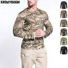 ESDY Mens Tactical Combat T-Shirt Airsoft Long Sleeve Army Military Casual Camo