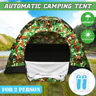 US Automatic Camping Tent Pop Up Quick Shelter Outdoor Hiking 2-3 Person PU +Bag