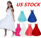 US Girls Princess Dress Flower Kids Birthday Party Bridesmaid Pageant Maxi Gown