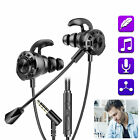 3.5MM Wired Gaming Headset In-Ear Earphone Mic Stereo Earbud HiFi Bass Headphone
