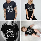 Mom Dad Baby Kids T-Shirts Family Matching Clothes Lovely Bear Letter Printed